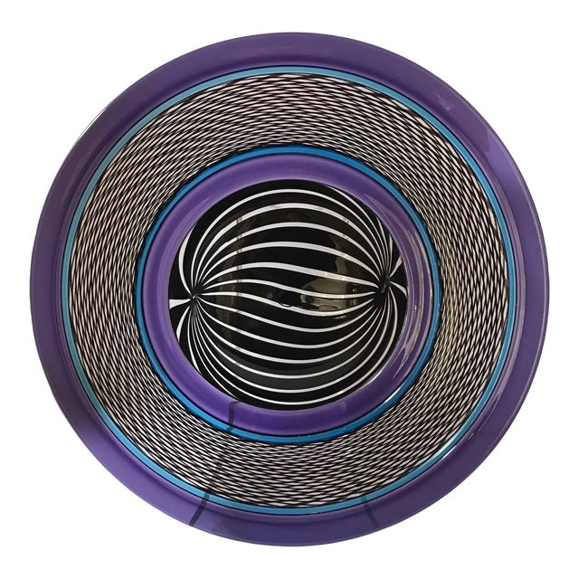 Large Purple Art Glass Plate Charger Signed by Peter Greenwood For Sale