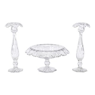 Val St. Lambert Hand Blown Art Deco Crystal 3 Pc. Centerpiece/Console Set For Sale