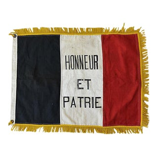 """Vintage French Honneur Et Patrie Flag 26"""" x 20"""""""