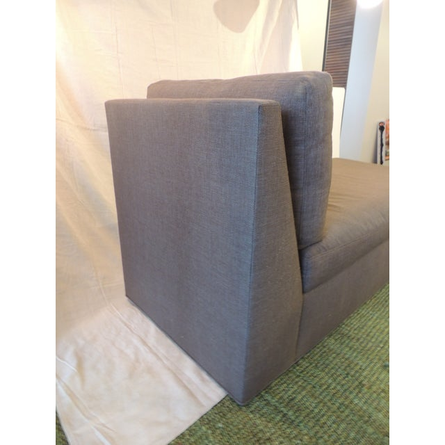Crate and Barrel Chaise Lounge in Brown Linen For Sale - Image 11 of 12