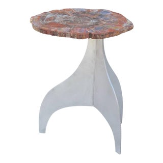 Seve' Petrified Wood and Aluminium Side Table by Design Frères For Sale