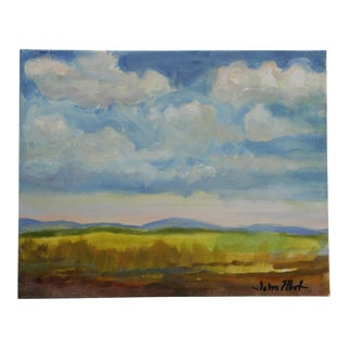 """Impressionist Small Oil Painting on Canvas Board """"Hudson Valley Skies"""" by Listed Artist John Elliot For Sale"""