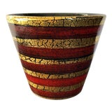 Image of Vintage Red Gold Italian Pottery Planter For Sale