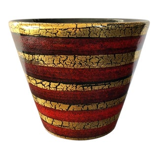 Vintage Red Gold Italian Pottery Planter For Sale