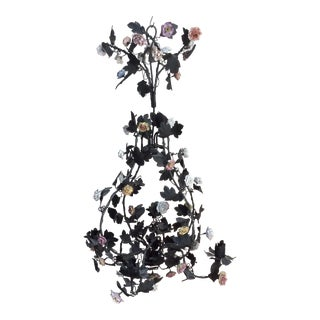 Tole & Porcelain Flower Candle Chandelier For Sale