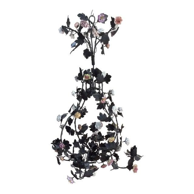 Tole & Porcelain Flower Candle Chandelier - Image 1 of 10