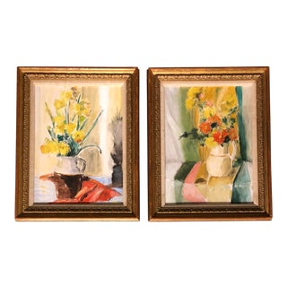 A Pair Vintage Still Life Paintings Beautifully Framed For Sale
