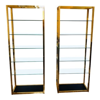 Tall Modernist Brass Etageres - a Pair For Sale