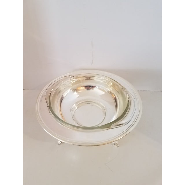 Vintage 1940s Silver-Plate Footed Covered Casserole W/ Pyrex Ovenware Insert For Sale - Image 4 of 7