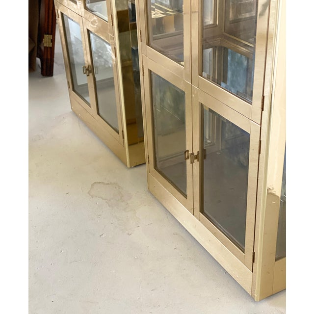 Metal 1970s Art Deco Mastercraft Brass and Glass Display Cabinets-a Pair For Sale - Image 7 of 11