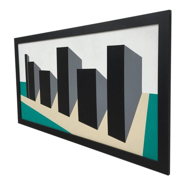 Original Enamel on Masonite Abstract Painting by Rick Orr For Sale