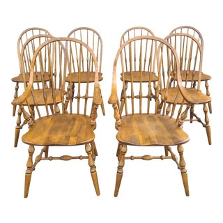 Ethan Allen Circa 1776 Collection Maple Bowback Windsor Dining Chairs - Set of 8 For Sale