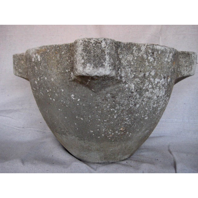 Pair of French Country Rustic Concrete Garden Flower Planters For Sale - Image 6 of 12