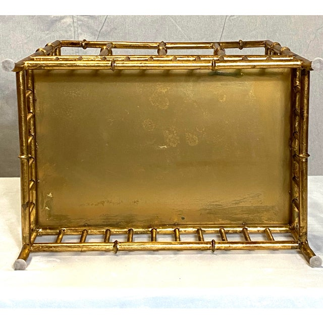 Metal Beautiful Vintage Gilt Gold Canterbury Magazine Rack Stand Asian Style Fabulous For Sale - Image 7 of 8