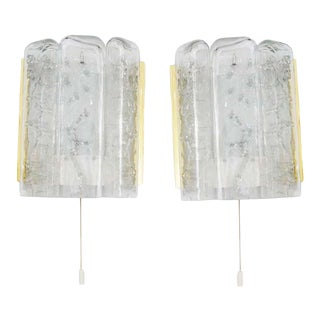 Mid-Century Modern Doria Leuchten Brass and Glass Sconces - a Pair For Sale