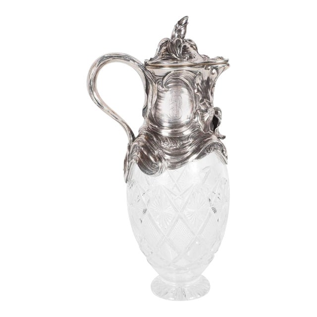 Art Nouveau Sterling Silver and Cut Crystal Wine Decanter or Water Pitcher For Sale