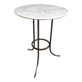 Transitional Marble Three Leg Side Table For Sale