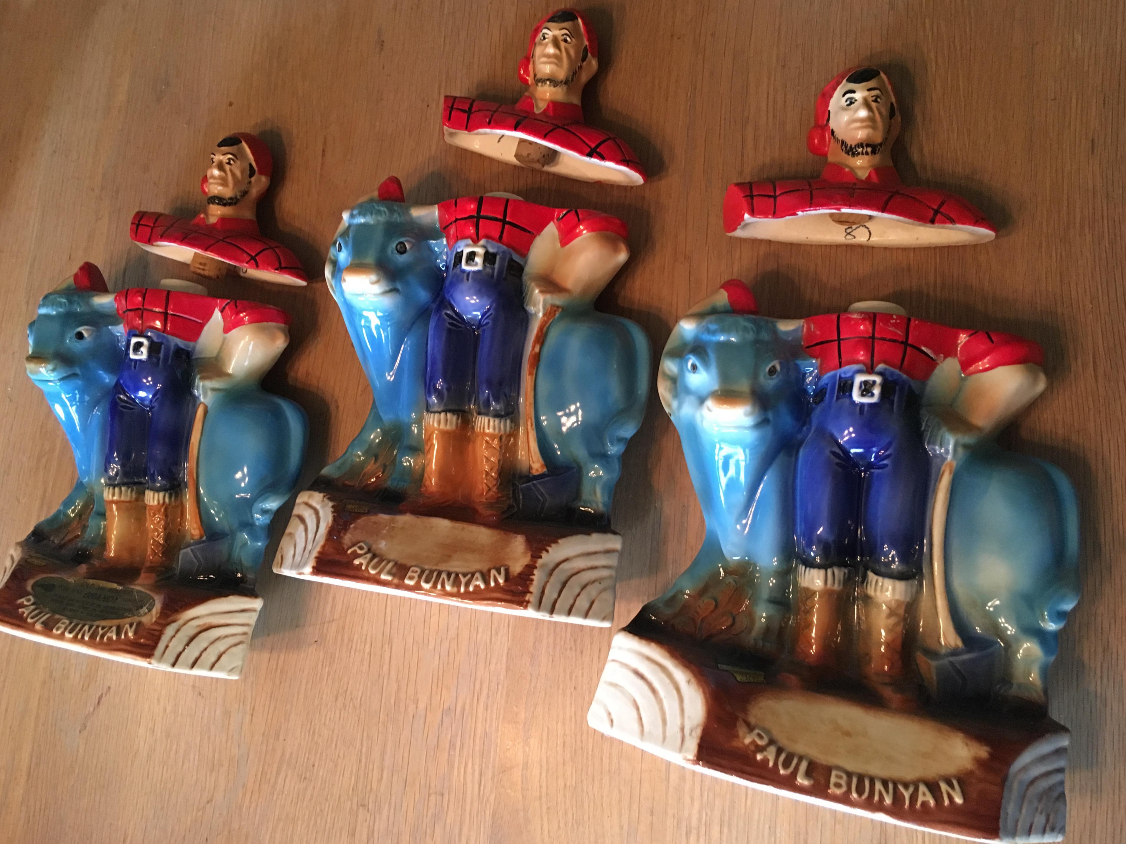 Mr Boston Brandy Paul Bunyan Amp Babe Ox Decanters Set Of