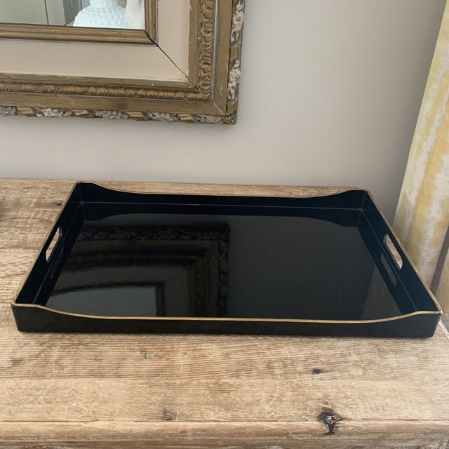 Donghia Black and Gold Accented Lacquered Tray For Sale - Image 9 of 9