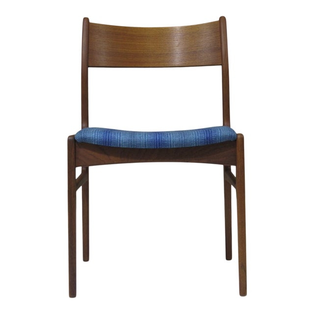 Six midcentury teak dining chairs designed by Funder-Schmidt & Madsen, Denmark. Teak frames with sculpted cross stretchers...