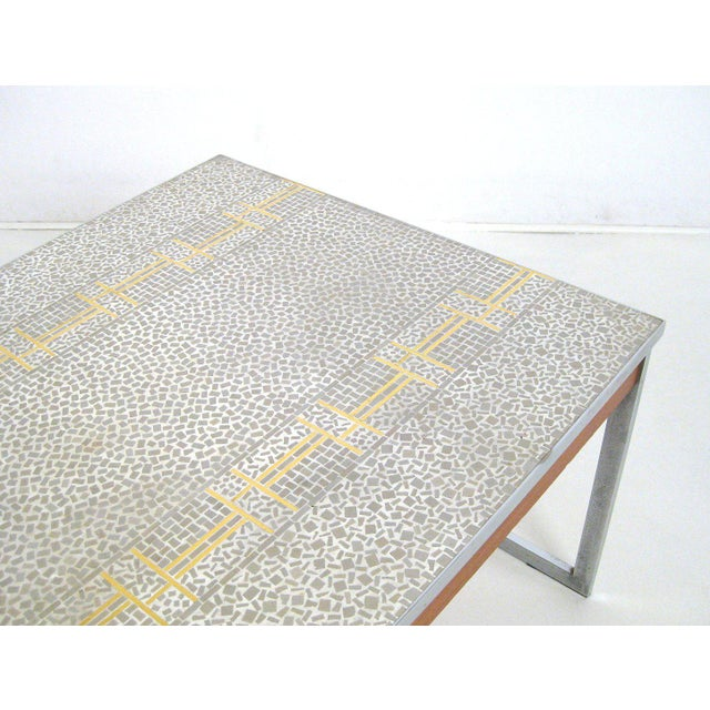 Gold 1960s Mid-Century Modern Chrome and Mosaic Coffee Table For Sale - Image 8 of 10