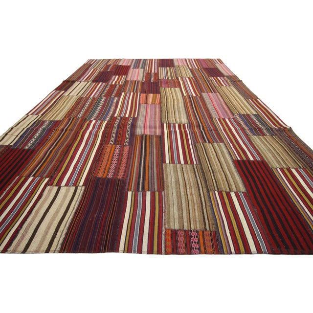 Modern style vintage Turkish Jajim Kilim flat-weave rug with colorful stripes. This handwoven wool vintage Turkish Kilim...