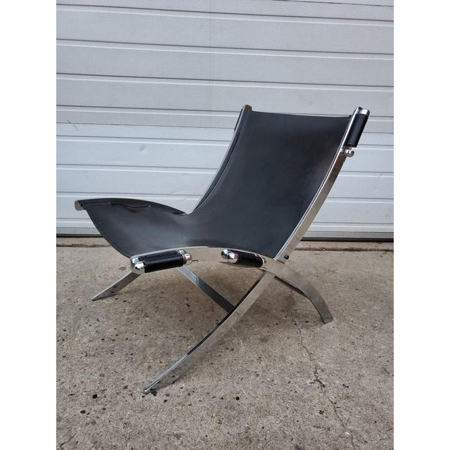 Flexform Mid Century Modern Antonio Citterio for Flexform Chrome and Leather Lounge Chair For Sale - Image 4 of 10