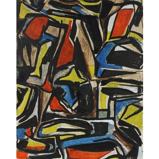 Cubist Abstract Primary Colors Painting, Circa 1940s For Sale