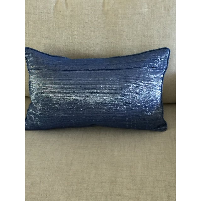 Blue Silver & Beige Accent Pillow - Image 4 of 4