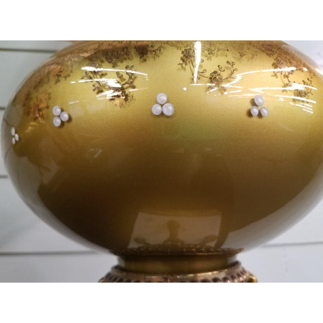 1950s Mid-Century Modern Gold Glass Globe Lamps - a Pair For Sale - Image 4 of 11