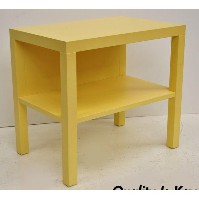 Modern Decca Yellow Grasscloth Raffia Wrapped Parsons Nightstand For Sale - Image 10 of 10