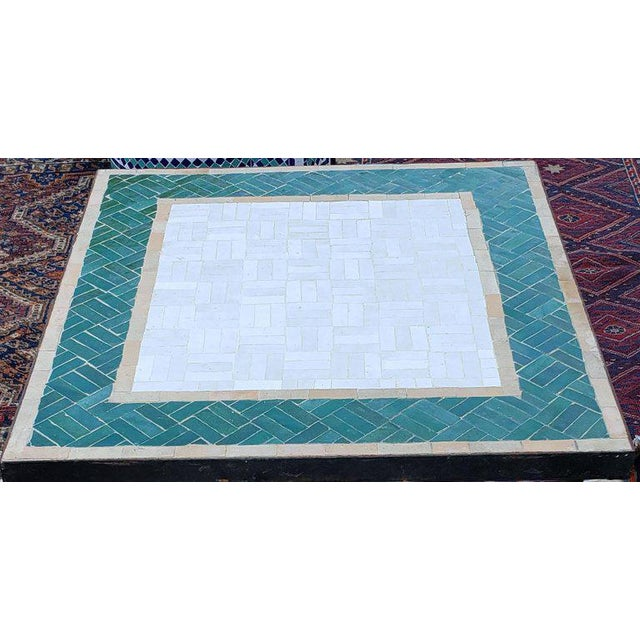Islamic Moroccan White and Green Square Mosaic Dining Table For Sale - Image 3 of 7