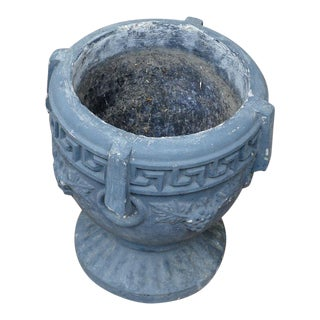 20th Century Neoclassical Greek Key & Grape Vine Cement Pedestal Garden Planter For Sale