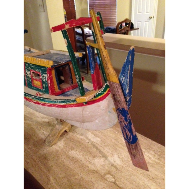Decorative Vintage Children's Wood Boat with Stand - Image 7 of 11