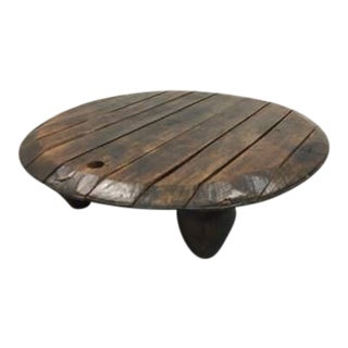 Solid Rustic French Barrel Top Coffee Table Oak Wood For Sale
