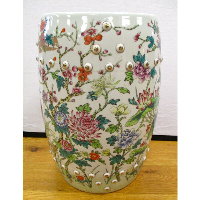 Asian Chinese Porcelain Floral Garden Stool For Sale - Image 3 of 6