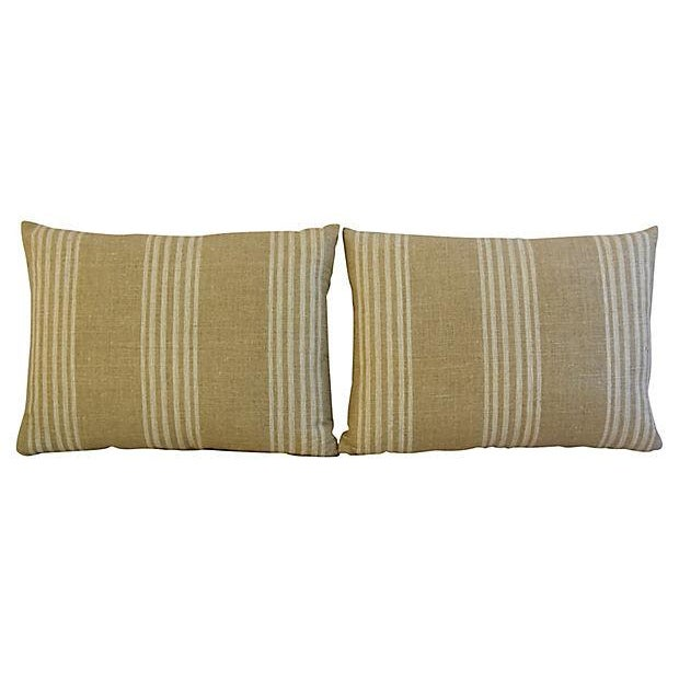 Custom Tan & White French Ticking Feather & Down Pillows - A Pair - Image 8 of 11