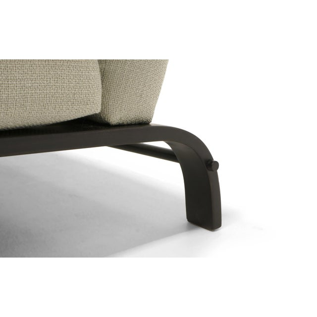 Gray Three-Seat Sofa by Russell Wright, Black Frame and Light Grey-Silver Fabric For Sale - Image 8 of 9