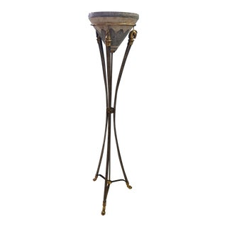 Equestrian Mosaic Torchiere Floor Lamp For Sale