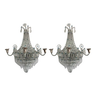1940s French Crystal Sconces - a Pair For Sale