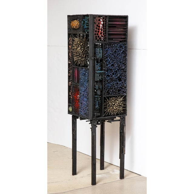 """2010s James Bearden """"Segment Cabinet"""" in Polychromed and Bronzed Steel For Sale - Image 5 of 13"""
