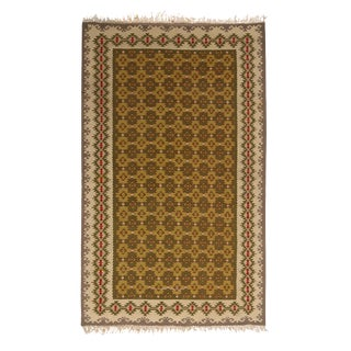 Vintage Mid-Century Sarkoy Geometric Beige-Brown and Green Wool Kilim Rug For Sale