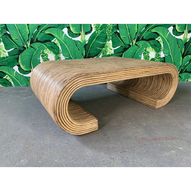 Rattan Split Reed Rattan Wrapped Scroll Coffee Table in the Style of Crespi For Sale - Image 7 of 9
