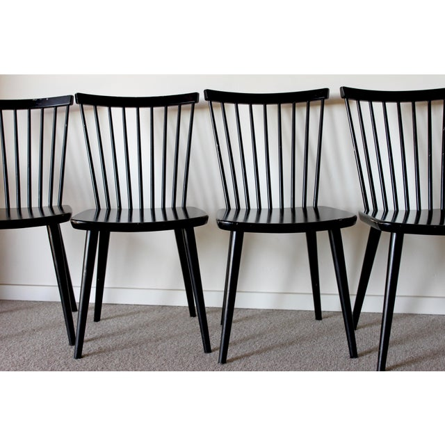 Swedish Mid Century Solid Wood Spindle Dining Chairs - Set of 4 For Sale - Image 5 of 9