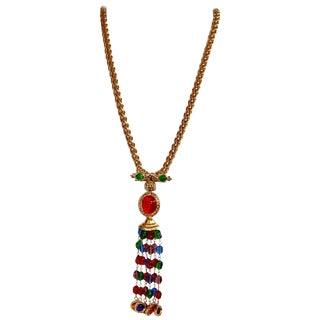 Gripoix Paris Poured Glass Tassel Necklace For Sale