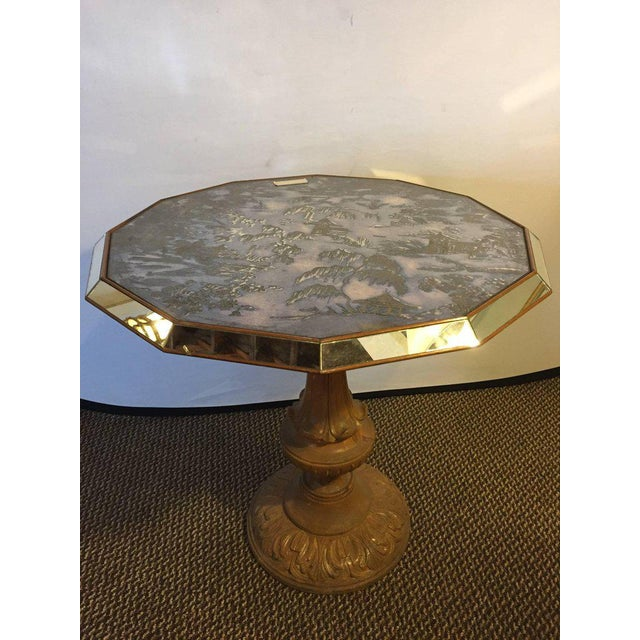 Chinoiserie Style Center Table with Eglomise Glass Top on a Single Pedestal For Sale In New York - Image 6 of 10