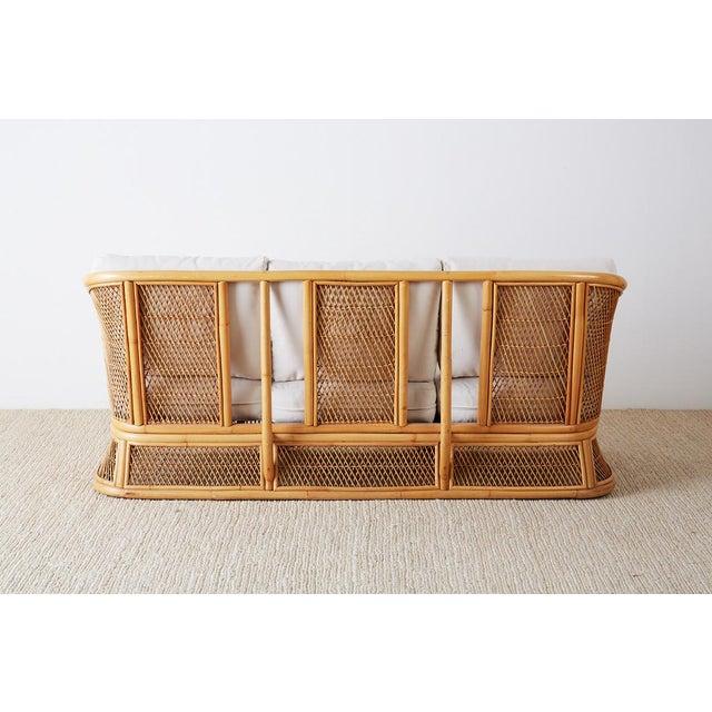 Midcentury Bamboo Rattan Wicker Three-Seat Sofa For Sale - Image 12 of 13