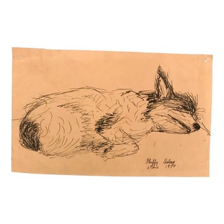 Fluffy Asleep Dog Portrait by James Bone, 1948 For Sale