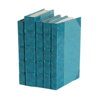 Patent Leather Teal Books - Set of 5 For Sale