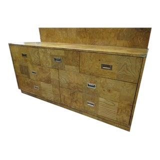 1960s Vintage Bernhardt Mid Century Modern Campaign Style Burled Olive Wood Credenza/Dresser For Sale